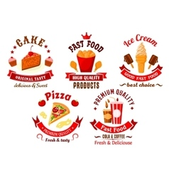 Cartoon retro fast food and pastry symbols vector image vector image