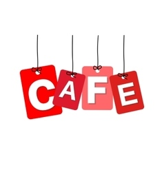 colorful hanging cardboard Tags - cafe vector image