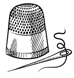 doodle thimble needle thread vector image