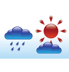 glossy sun and clouds vector image