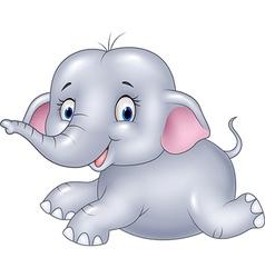 Happy baby elephant sitting isolated vector image vector image