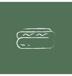 Hotdog icon drawn in chalk vector image