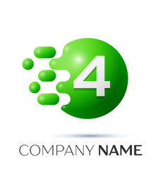 Number four splash logo green dots and bubbles vector