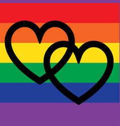 overlapping hearts on rainbow flag vector image