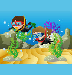scene with two girls diving under the sea vector image vector image