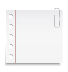 White paper note with clip vector image