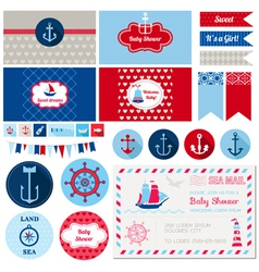 Design Elements - Baby Shower Nautical Theme vector image vector image
