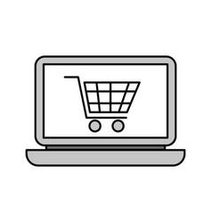 laptop computer cart shopping online order vector image