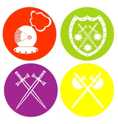 monohrome icon set with knight heraldic symbol vector image