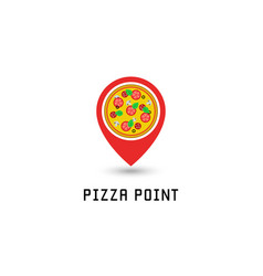 pizza logo pointer pin location pizzeria fastfood vector image vector image