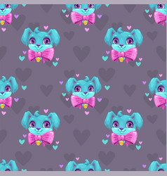 seamless pattern with cute blue young dog faces vector image vector image