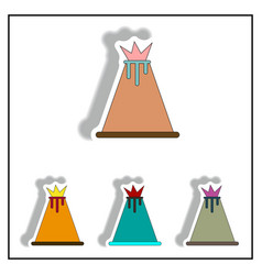 Volcano stickers set volcano icons collection vector