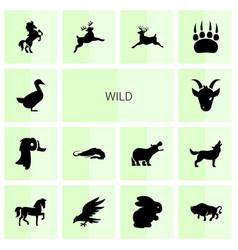14 wild icons vector