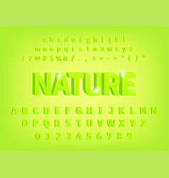 3d bold alphabet nature typeface design vector image