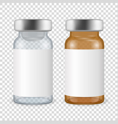 3d realistic bottles vaccine icon set vector