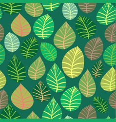 a variety of leaves on a green background vector image