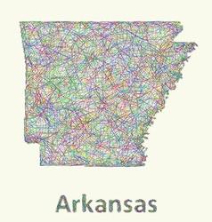 Arkansas line art map vector