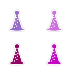 Assembly realistic sticker design on paper hat vector