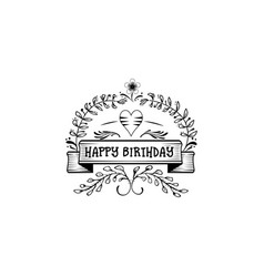 badge as part design - happy birthday vector image