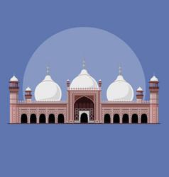 badshahi mosque - landmark pakistan vector image
