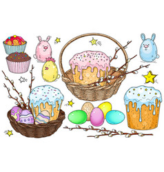 basket with cake and easter vector image