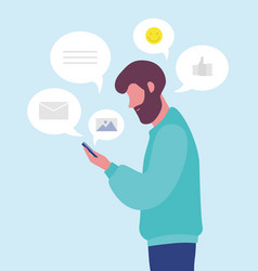 Bearded man chatting online or texting on vector