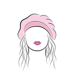 Beautiful young woman with her hair in a pink vector image vector image