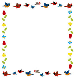 Bird and flowers frame vector