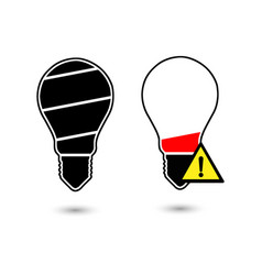 black bulb light in the shape of battery icon vector image