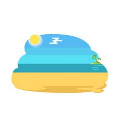 Blue lagoon tropical beach distant island and palm vector