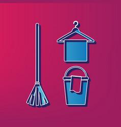 broom bucket and hanger sign blue 3d vector image
