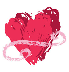 Brush stroke red 2 love hearts entwined vector