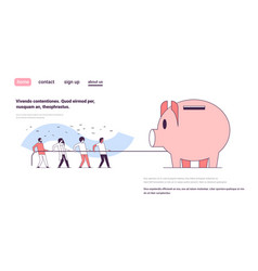 Business people team pulling rope piggy bank vector