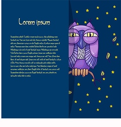 Card for text with an owl on a blue background vector