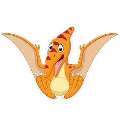 cartoon bapterosaurus sitting isolated vector image