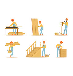 cartoon carpenter character with tools vector image