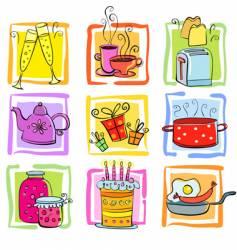 cartoon food icons vector image
