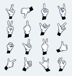 Cartoon gloved hands set vector