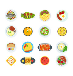 cartoon home cooking healthy foods dishes menu set vector image