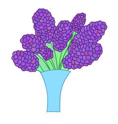 Cartoon lilac bouquet in simple blue vase vector