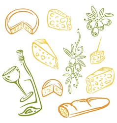 Cheese wine olives vector
