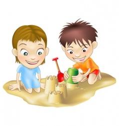 Children in the sand vector