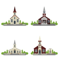 Church decorative flat icon set vector