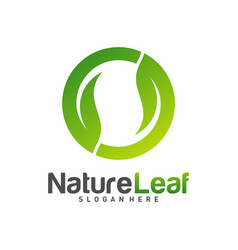 circle leaf logo design template nature logo vector image
