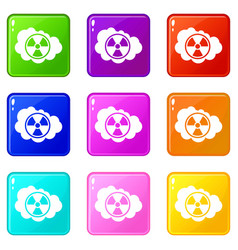 Cloud and radioactive sign icons 9 set vector