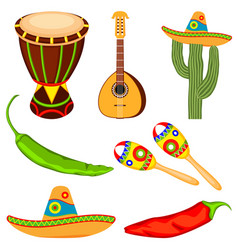 Colorful cartoon mexican music set vector