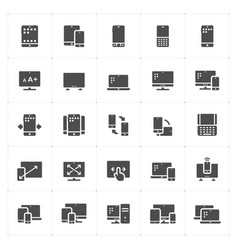 con set - device and responsive solid icon style vector image
