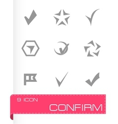 Confirm icons set vector