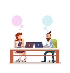 couple office worker sit at workplace with laptop vector image