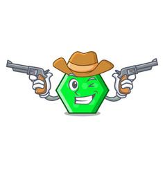 cowboy octagon character cartoon style vector image